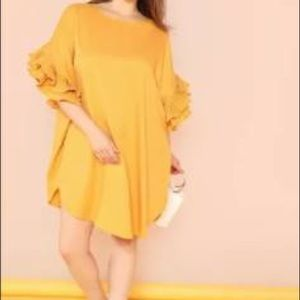 Dresses & Skirts - NWT Plus ruffle sleeve scallop hem yellow dress